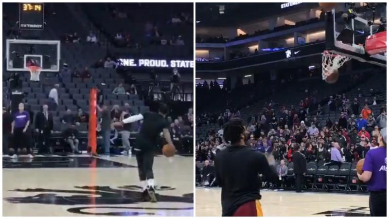 【影片】賽前花樣熱身?JR用打保齡球的姿勢投中了logo shot,玫瑰投籃板側方!