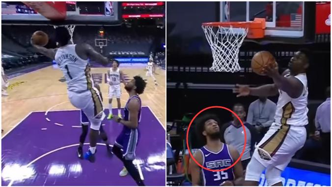 【影片】有一種天賦叫Zion!胖虎上演逆天籃板後沿上籃,籃下防守的Bagley都嚇傻了!