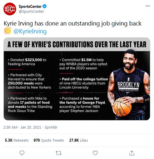 美媒曝光厄文慈善事業,網友卻抱怨捐的太少:和我捐20美元一樣!-籃球圈