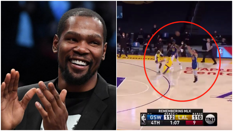 【影片】杜蘭特評論Curry昨天的關鍵三分:搖桿往左推,Curry後撤步~