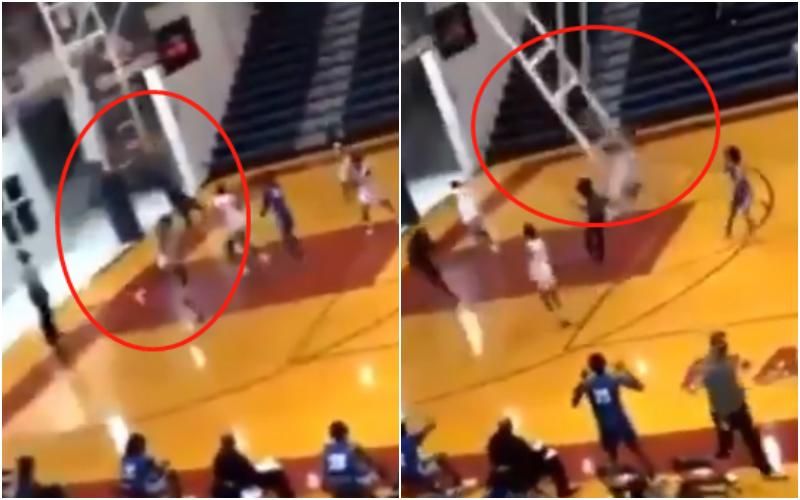 【影片】恐怖時刻!美高校一球員掛筐炸扣,直接把整個籃架扯下來,球員四散而逃!
