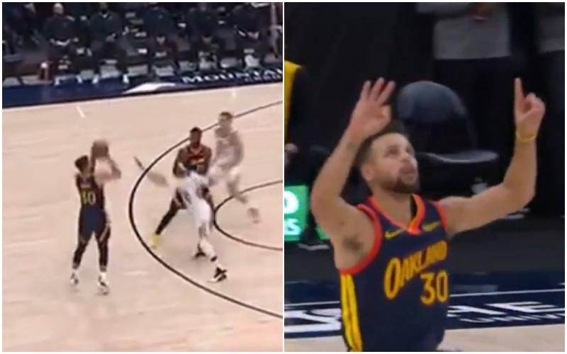 【影片】向傳奇致敬!Curry命中追平歷史記錄的三分,手指比出「31」,賽後Miller祝賀Curry!