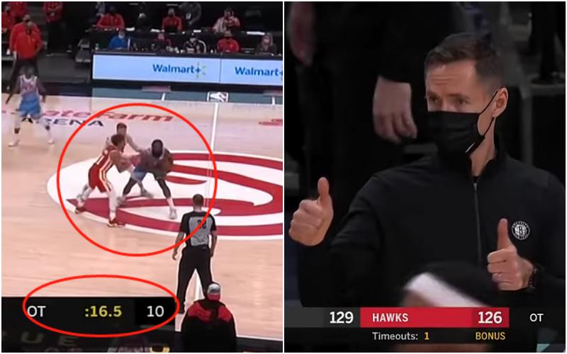【影片】場上大腦!哈登被包夾,一邊看時間一邊喊暫停,Nash鼓掌為他豎起大拇指!