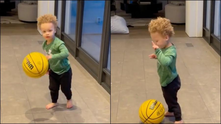 【影片】柯瑞2歲兒子Canon已經會運球了?妻子Ayesha喊話萌神:用3年時間讓他練出來!