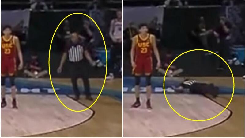 【影片】驚出一身冷汗!NCAA比賽中裁判突然倒地不省人事,萬幸之後清醒被送出場!