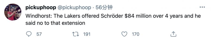 膨脹了?名記曝Schroder拒絕湖人4年8400萬美元續約,今夏可能將離隊!-籃球圈