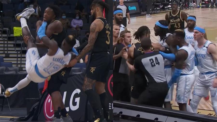 【影片】湖人暴龍爆發激烈衝突!Schroder被抱摔,Harrell挺身而出遭驅逐!-黑特籃球-NBA新聞影音圖片分享社區